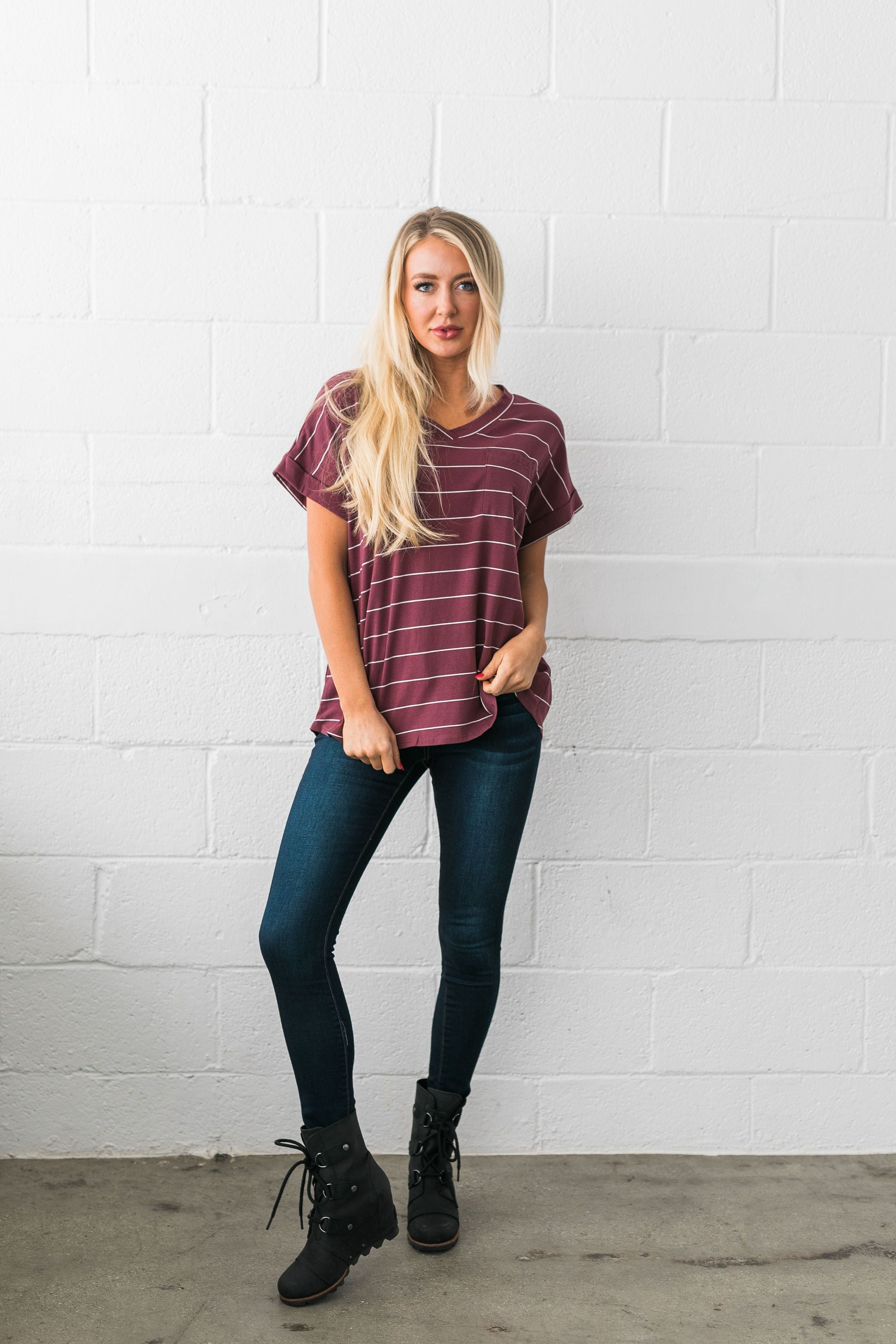 Tomboy V-Neck Tee In Burgundy - ALL SALES FINAL
