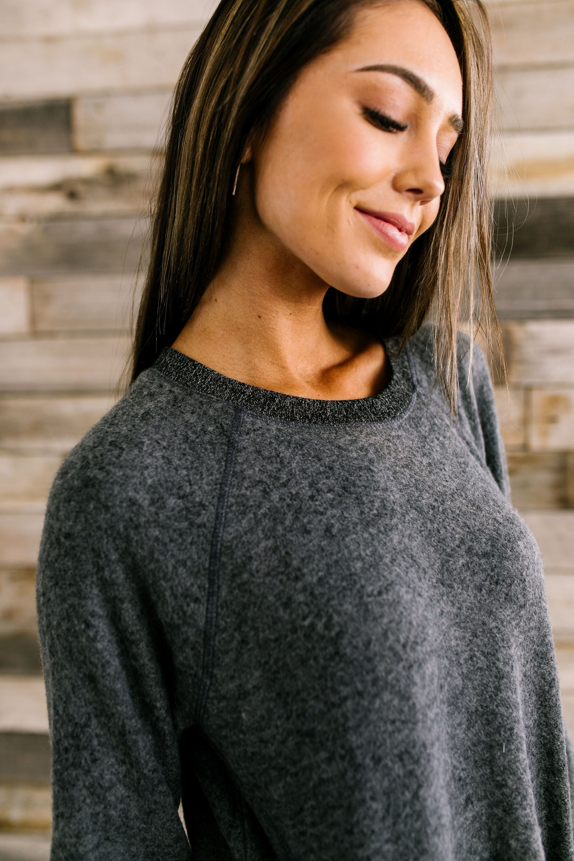 Trimmed To A Tee Top In Charcoal - ALL SALES FINAL