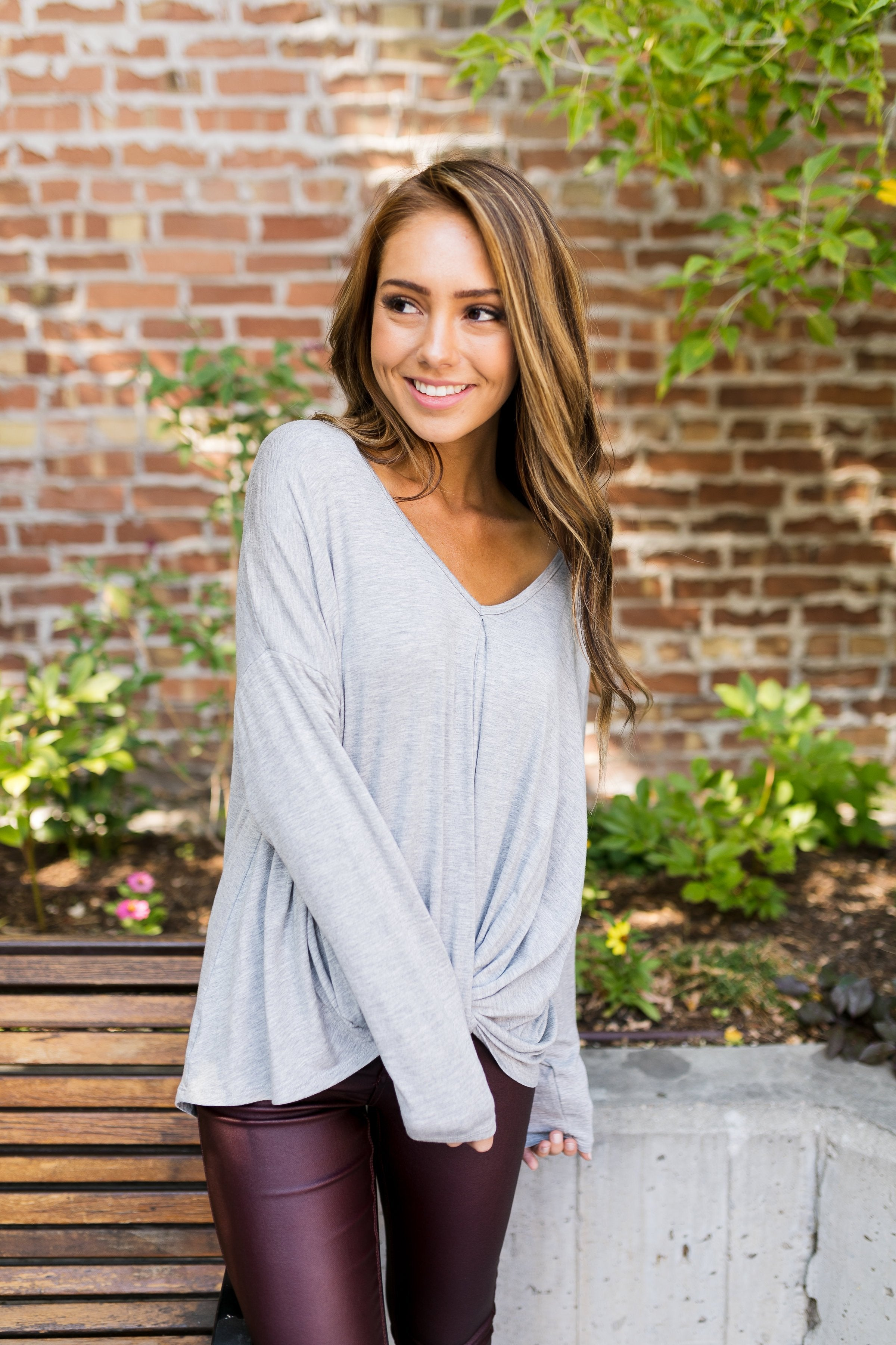 Twist And Shout Heather Gray V-Neck - ALL SALES FINAL