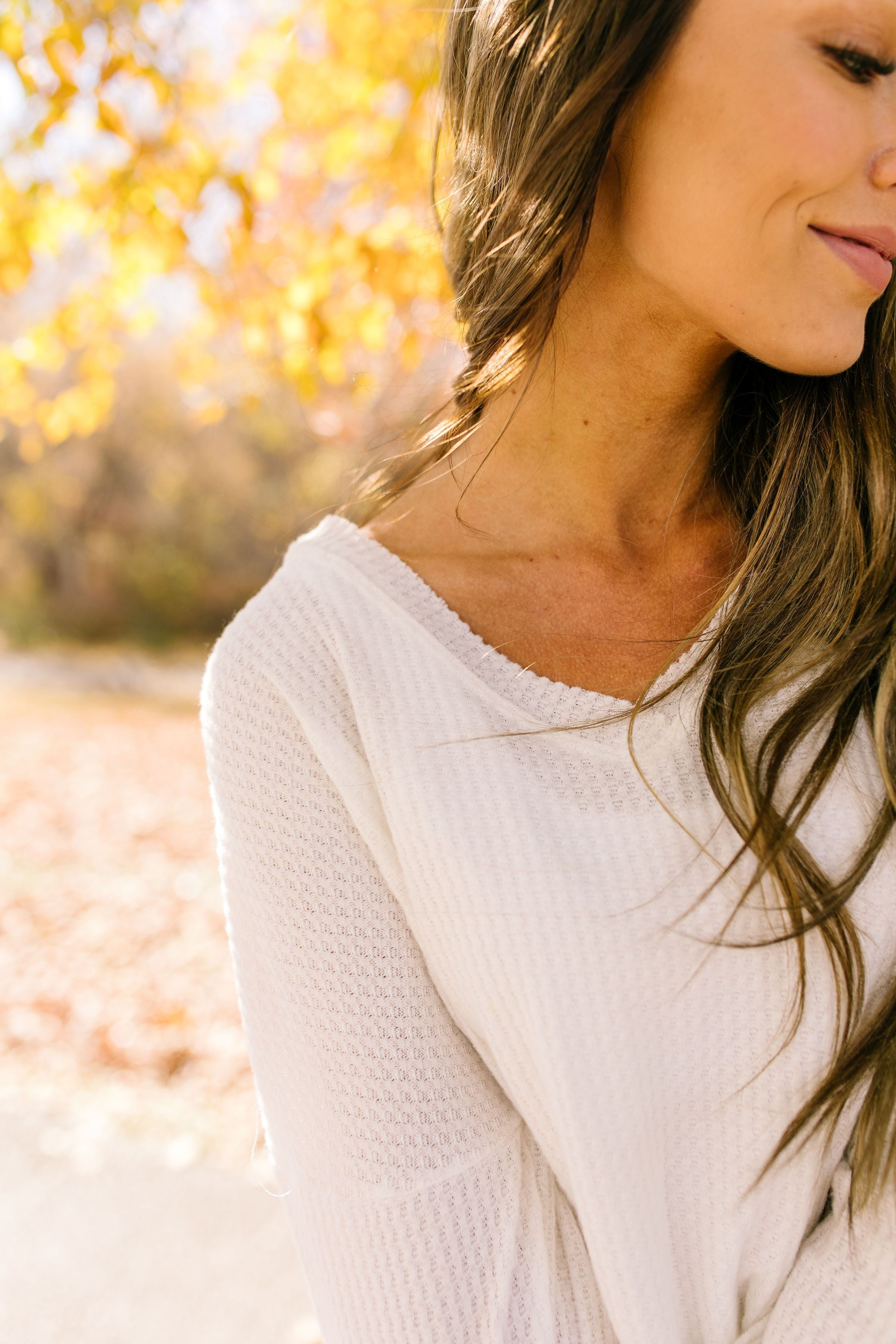 Wake Up And Go Waffle Knit Top In Ivory