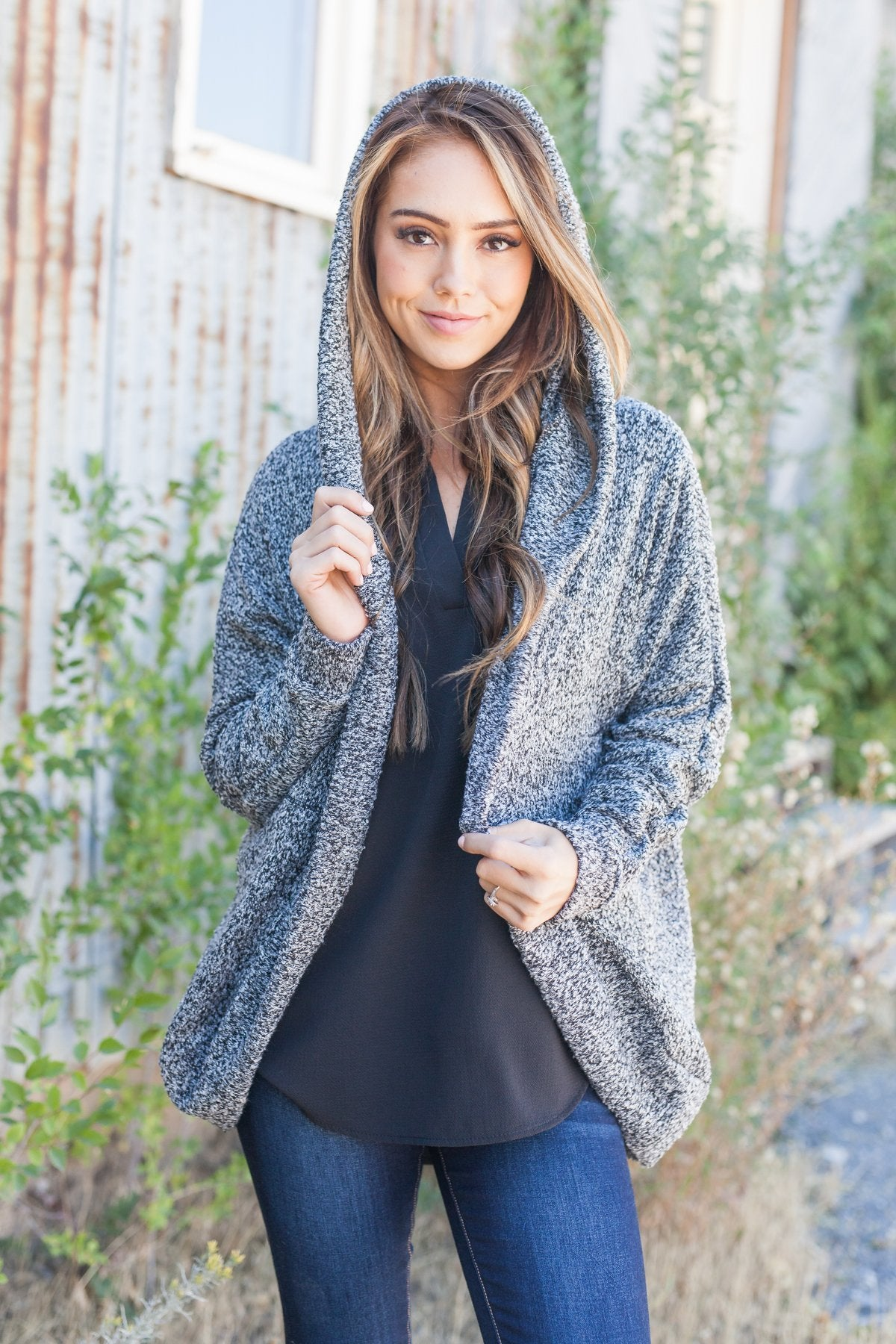Warm Fuzzy Nubby Knit Hooded Cardigan - ALL SALES FINAL