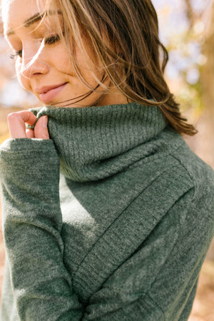 Wrap Your Arms Around Me Sweater In Hunter Green