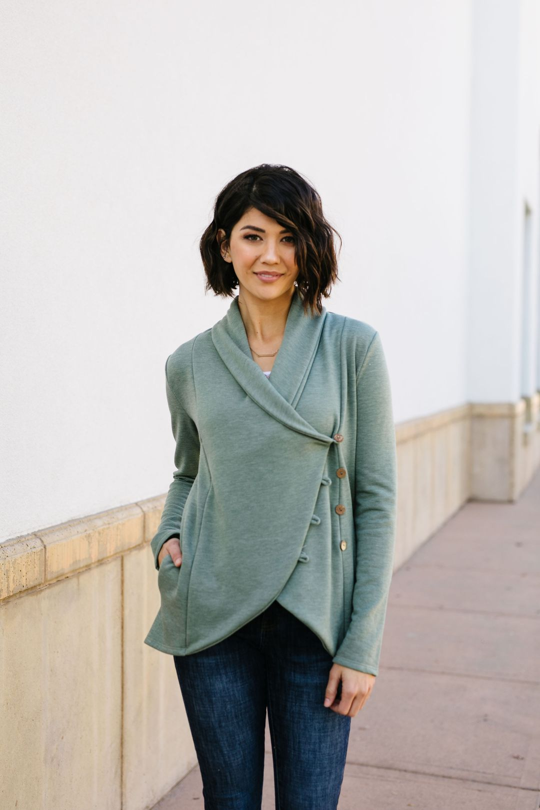 Sage Button Up Top