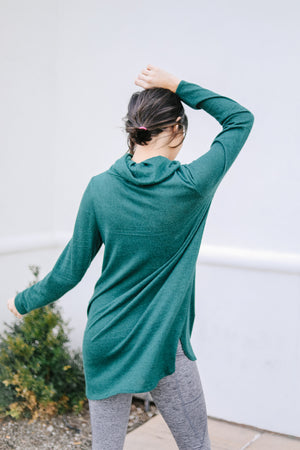 Hop To It Cowl Neck Tunic In Hunter Green