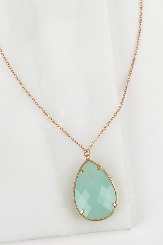 Light Mint Pendant Necklace - ALL SALES FINAL