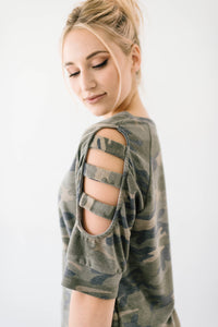 Camo Ladder Sleeve Top Plus