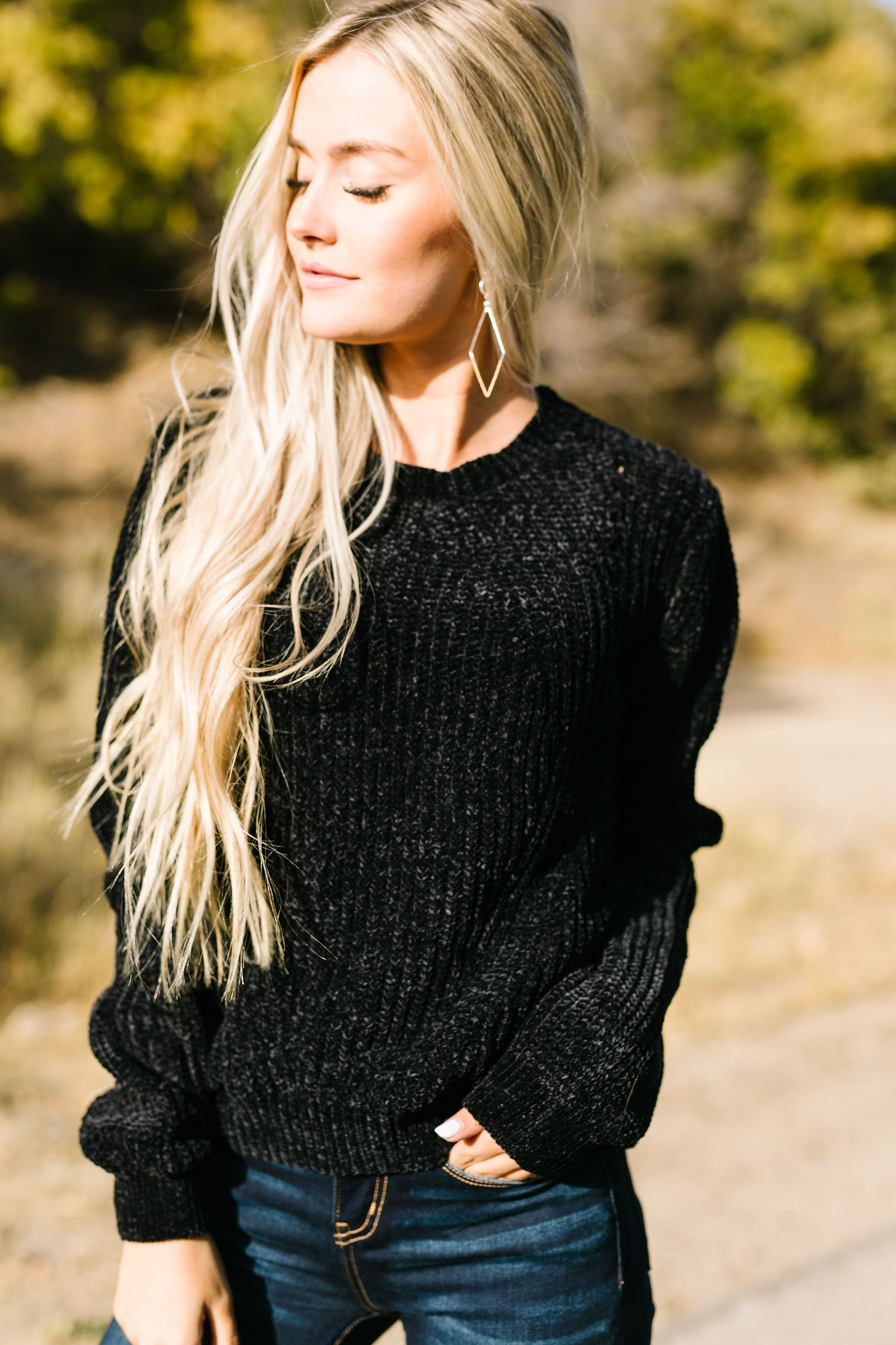 A Soft Chenille Sweater Turneth Away Wrath In Black - ALL SALES FINAL