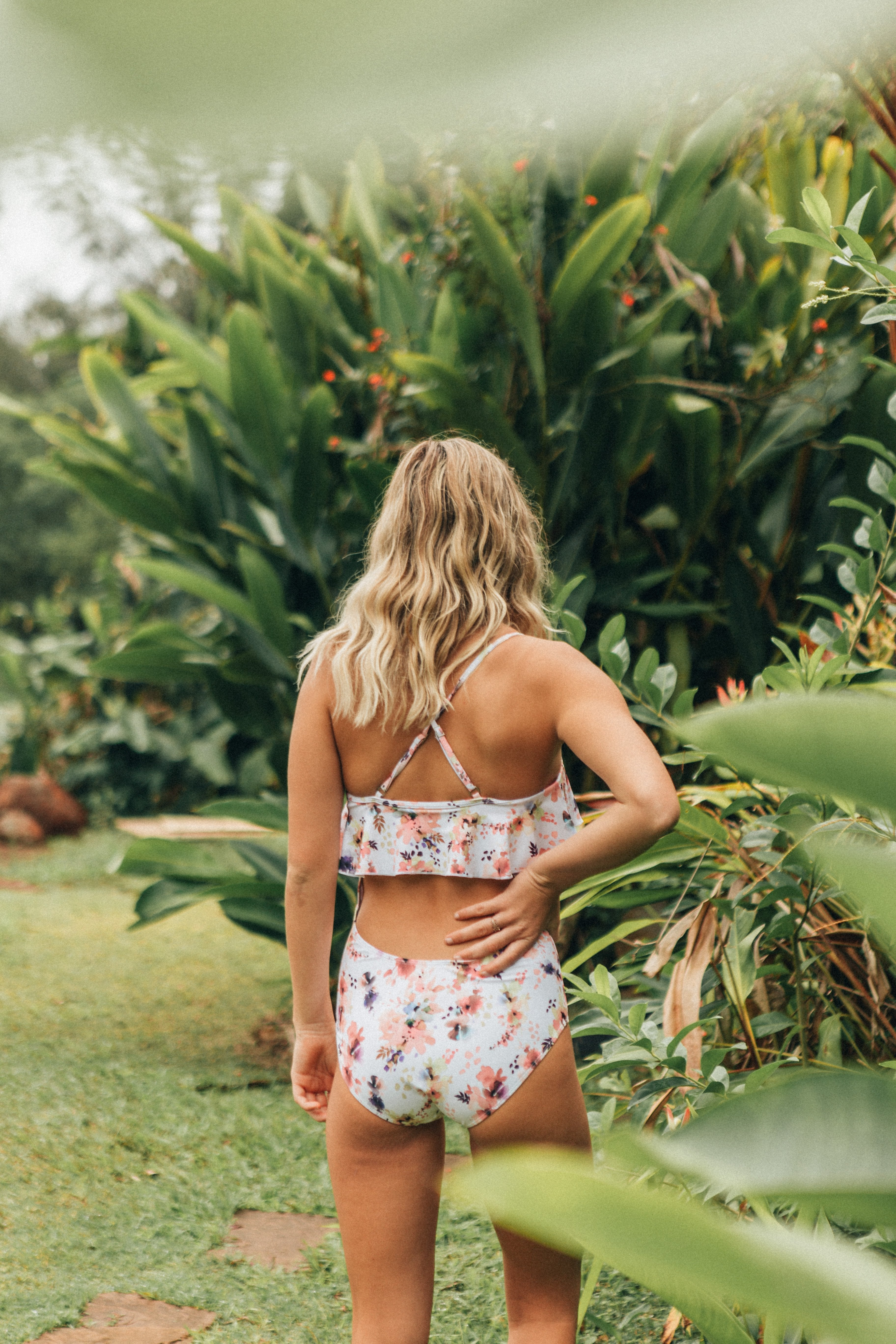 Abstract Floral Ruffle One Piece