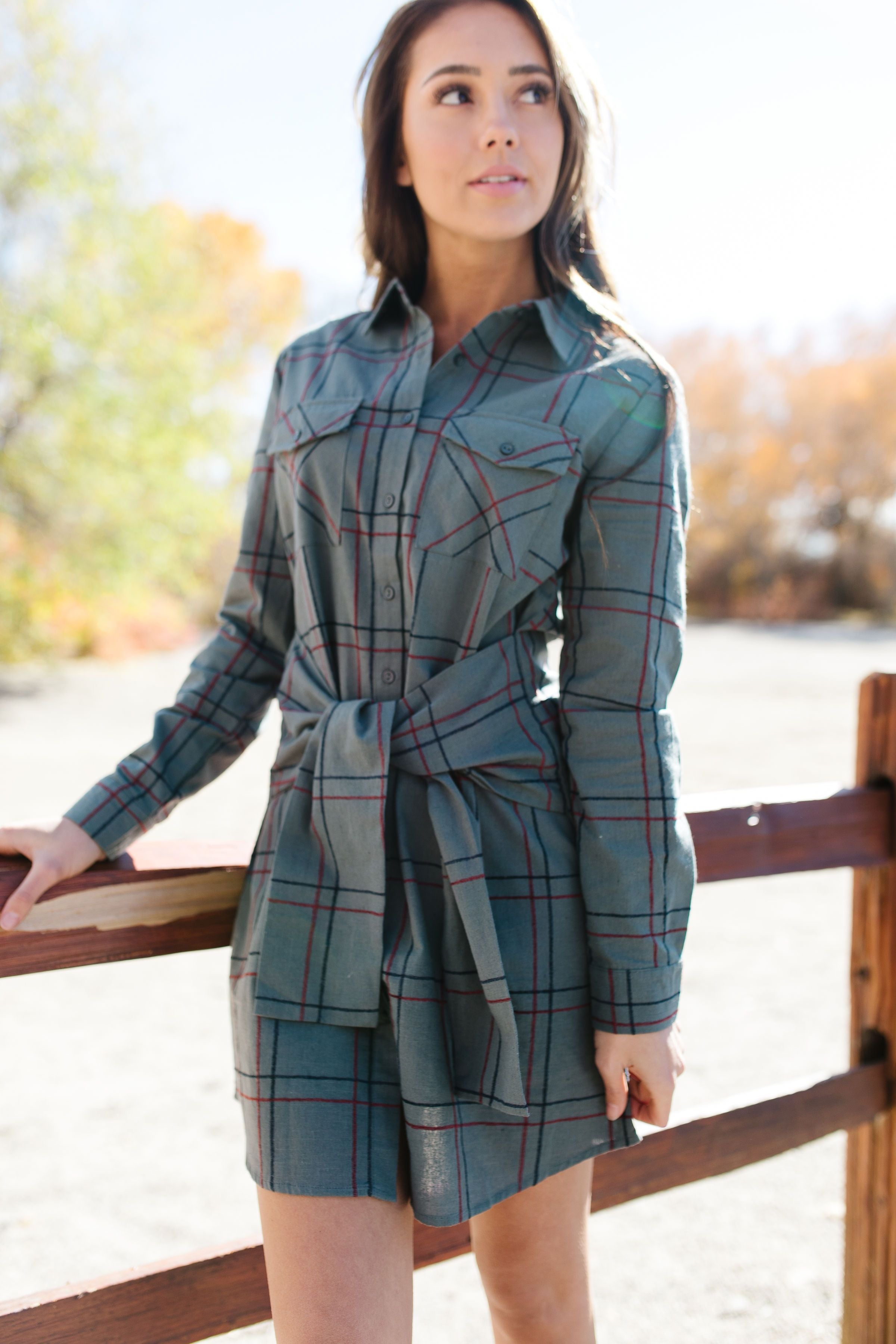 All Buttoned Up Plaid Shirt Dress - ALL SALES FINAL