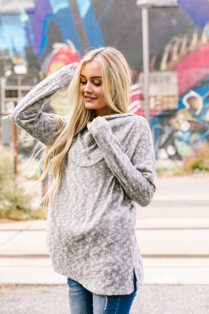 All Weather Hooded Sweater In Heather Gray - ALL SALES FINAL
