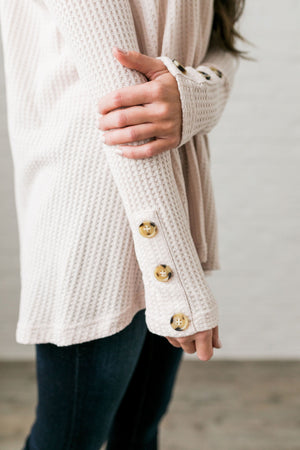 Bountiful Buttons V-Neck In Natural