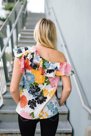 Bright Blooms One Shoulder Top