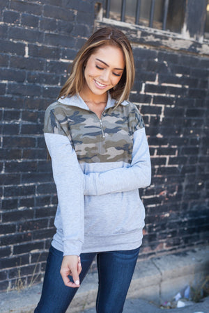 Camille Camo Half Zip Sweatshirt - ALL SALES FINAL