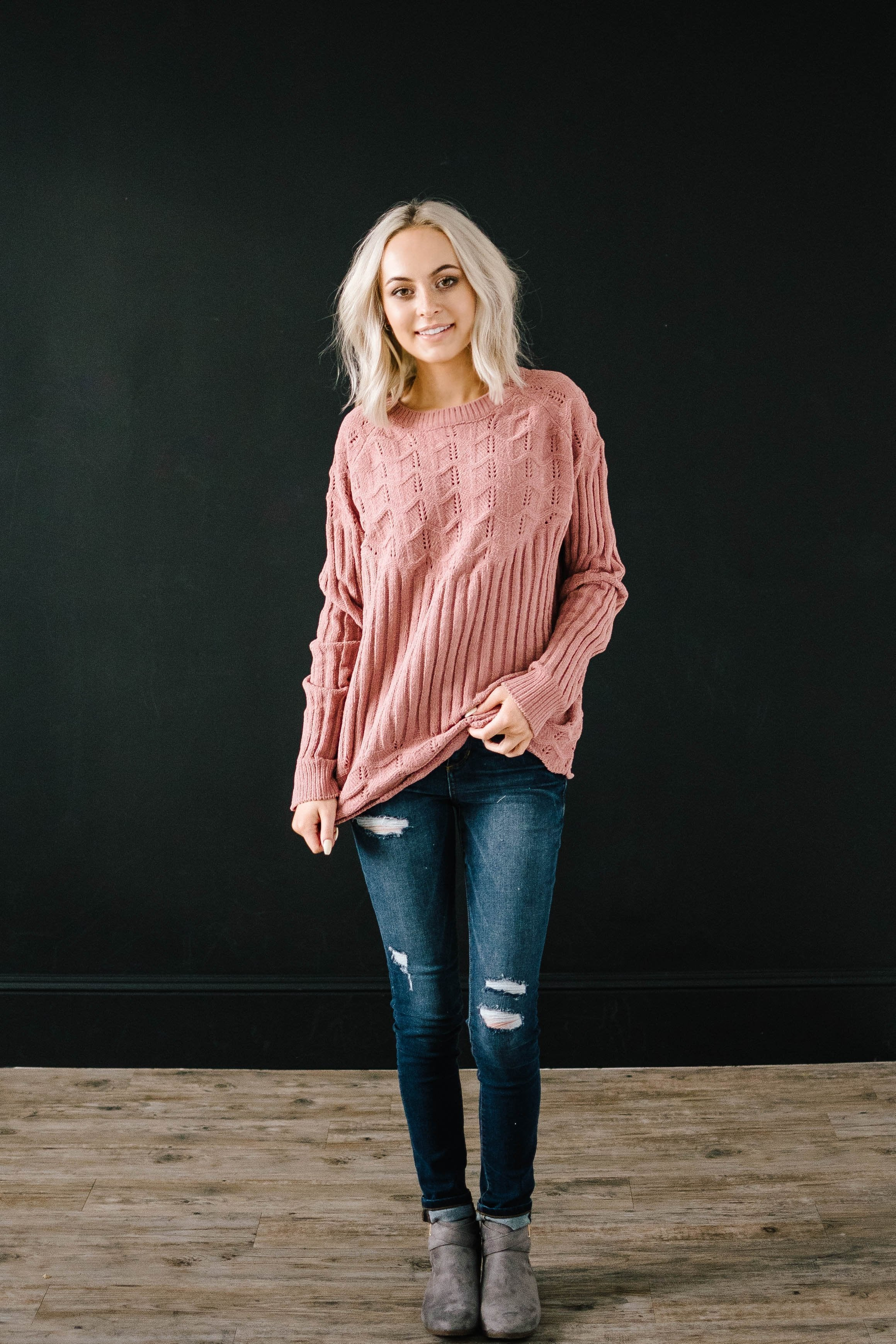 Chenille Sweater in Rose