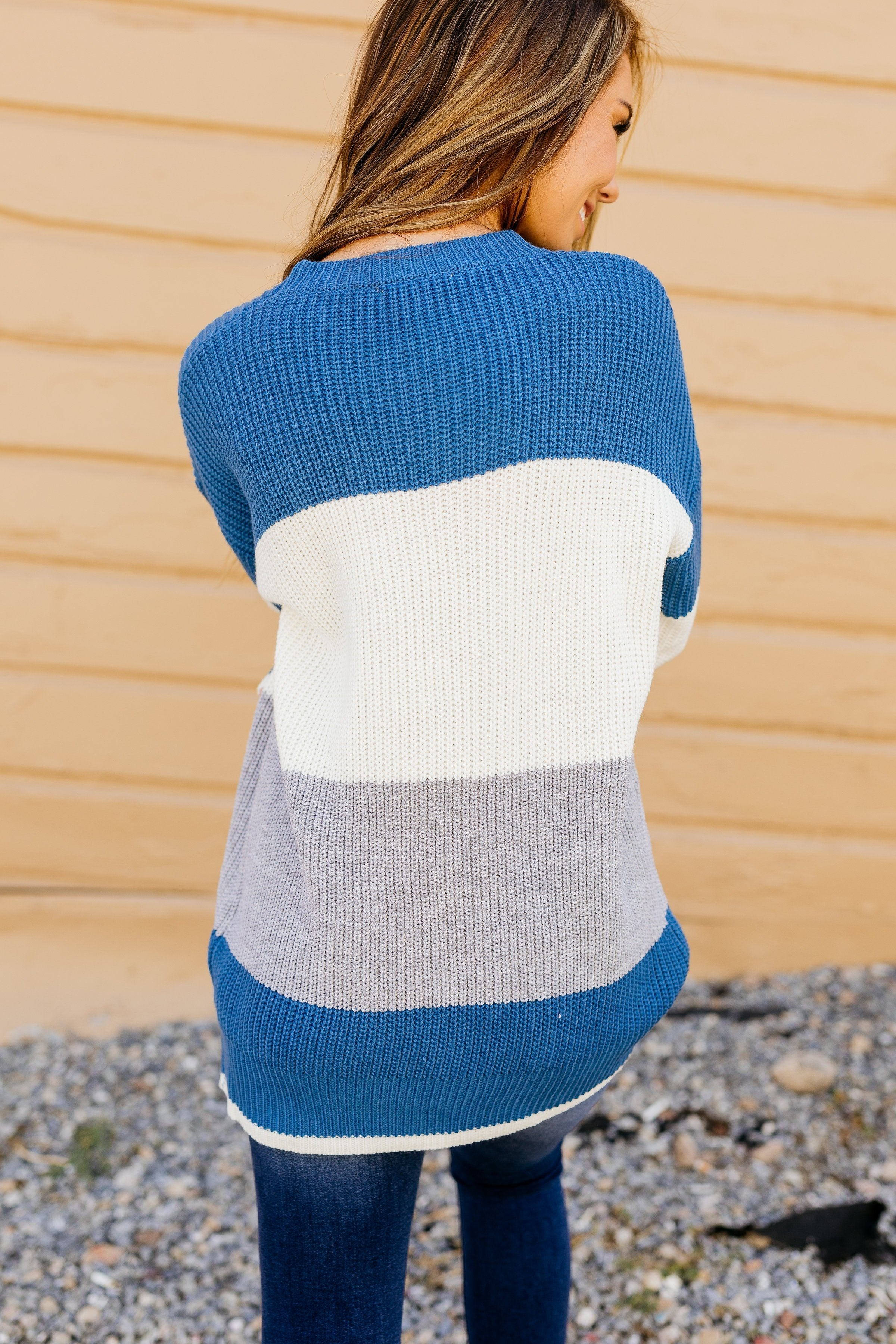 Cozy Casual Color Block Sweater In Blue - ALL SALES FINAL