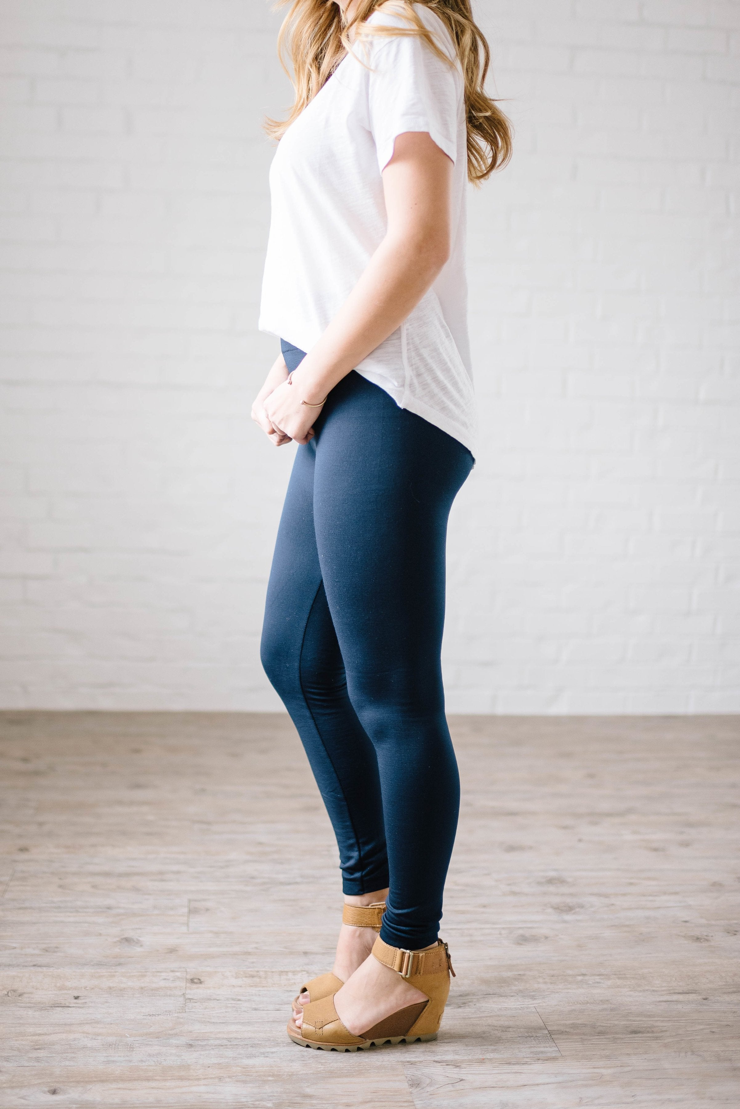 Cozy Fleece Lined Leggings in Navy