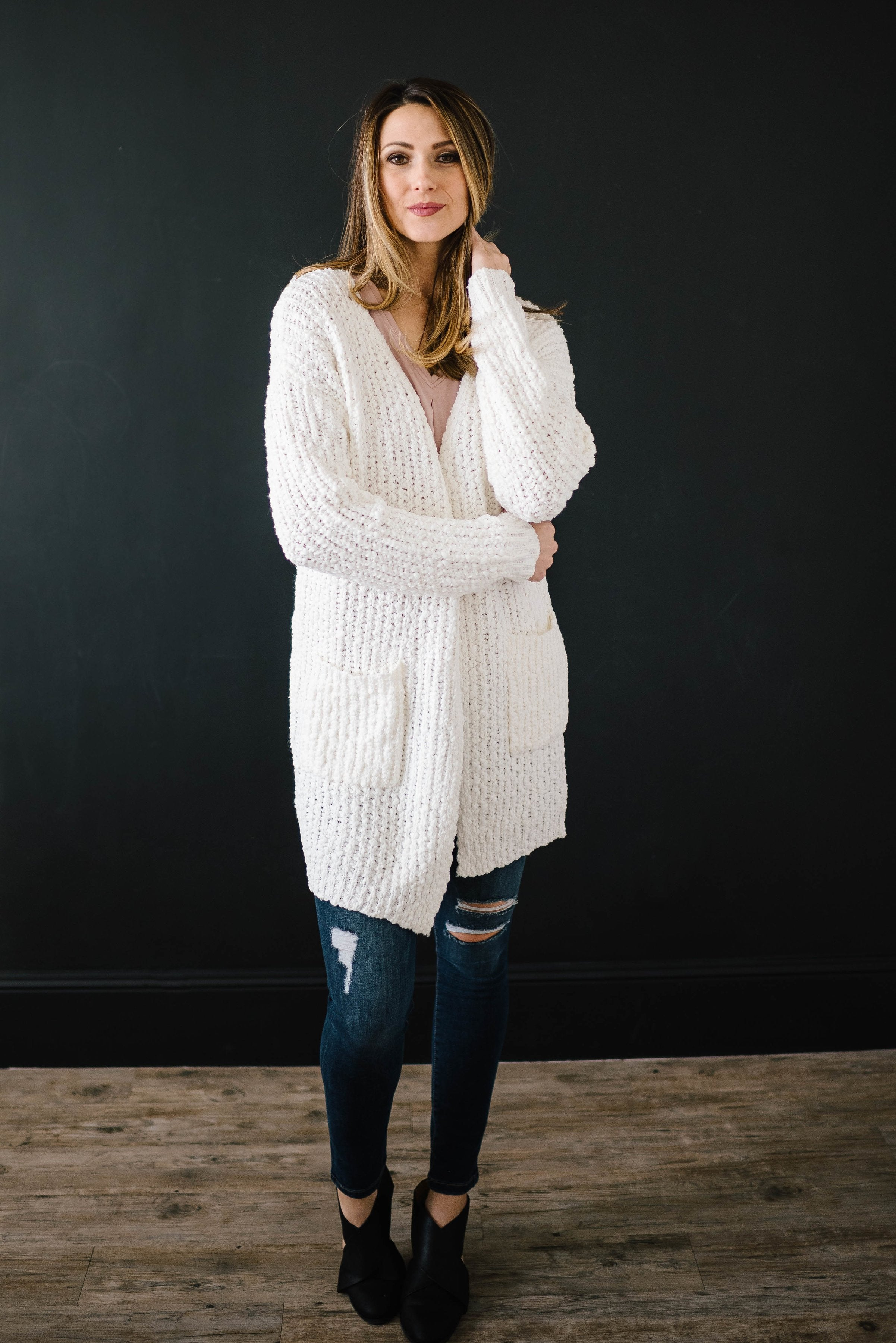 Cream Cuddle Up Cardi in Ivory