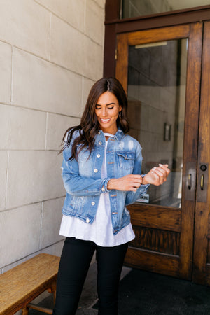 Don't Stress Distressed Denim Jacket