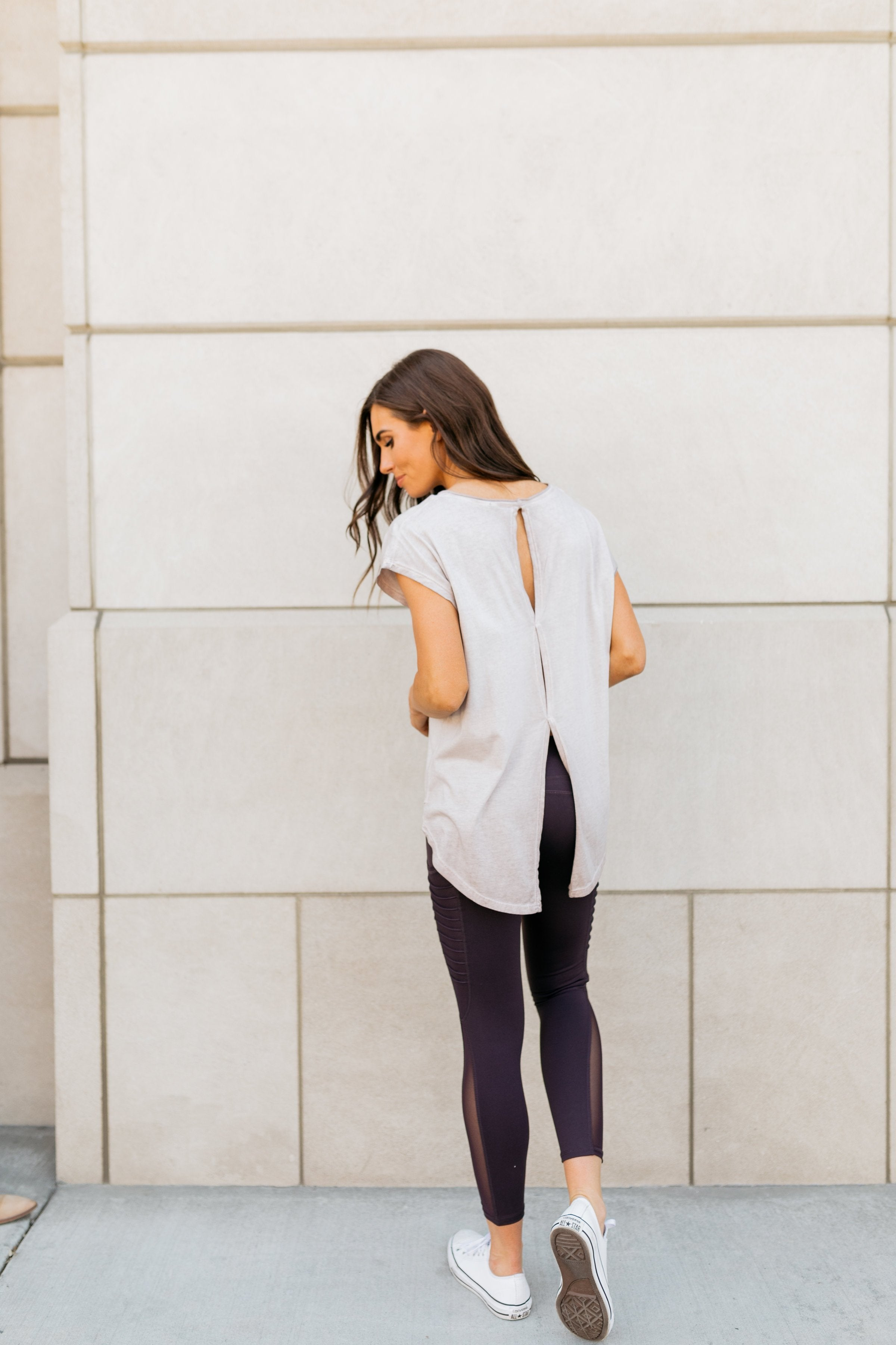 Don't Sweat It Workout Top In Faded Lilac - ALL SALES FINAL