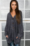 Faded Memories Chenille Cardigan In Charcoal