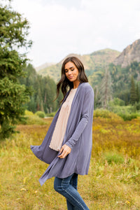 Fine Knit Cardi In Dusty Purple