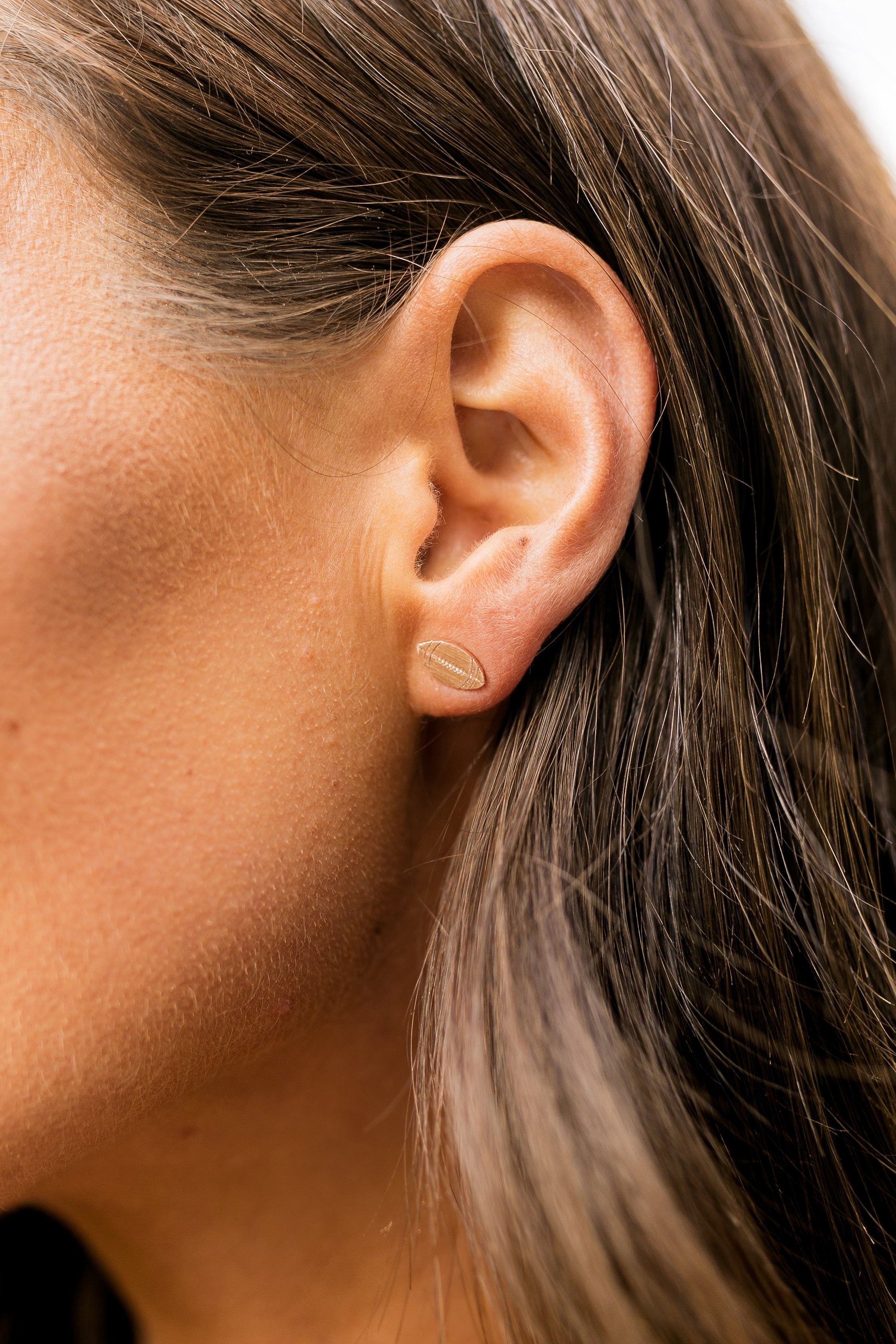 Football Earrings In Rose Gold - ALL SALES FINAL