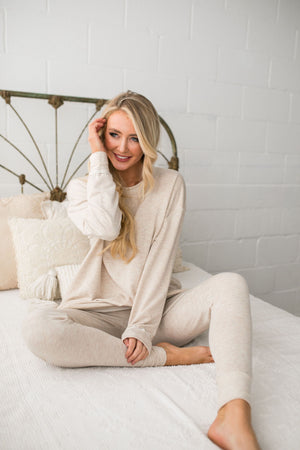 Free Fallin' Joggers In Oatmeal - ALL SALES FINAL