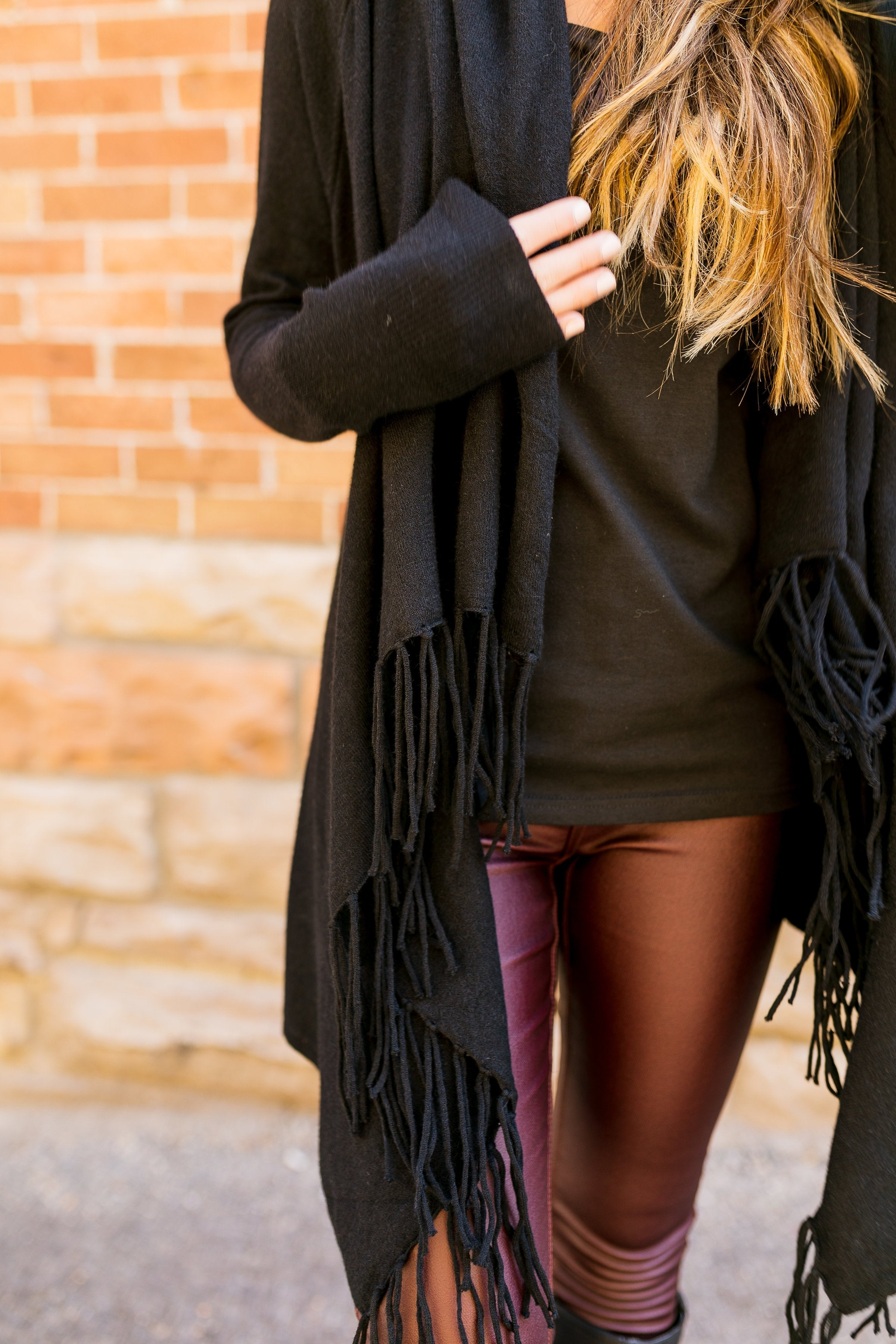 Fringe Benefits Cardigan In Black