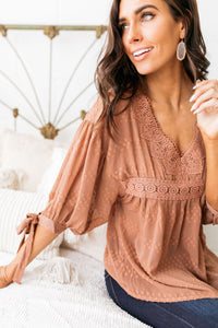 Gem Of Geneva Swiss Dot Blouse In Cocoa - ALL SALES FINAL