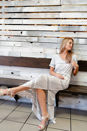 Gray & Taupe Striped Maxi Dress