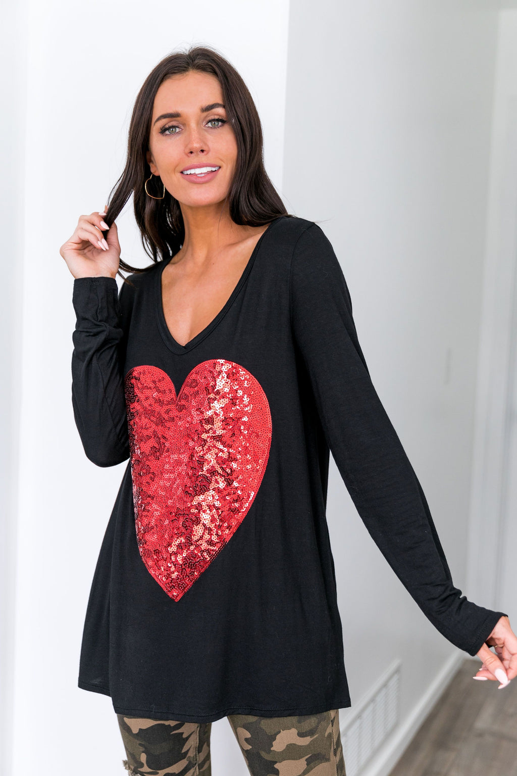 Heart's Delight Sequin Top In Black + Red