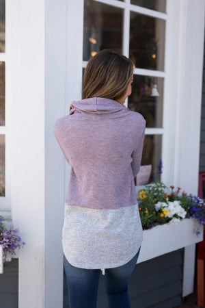 Heathered Plum Color Block Sweater