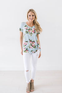 Fit To Be Tied Floral Blue Top
