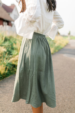 Olive Button Down Midi Skirt