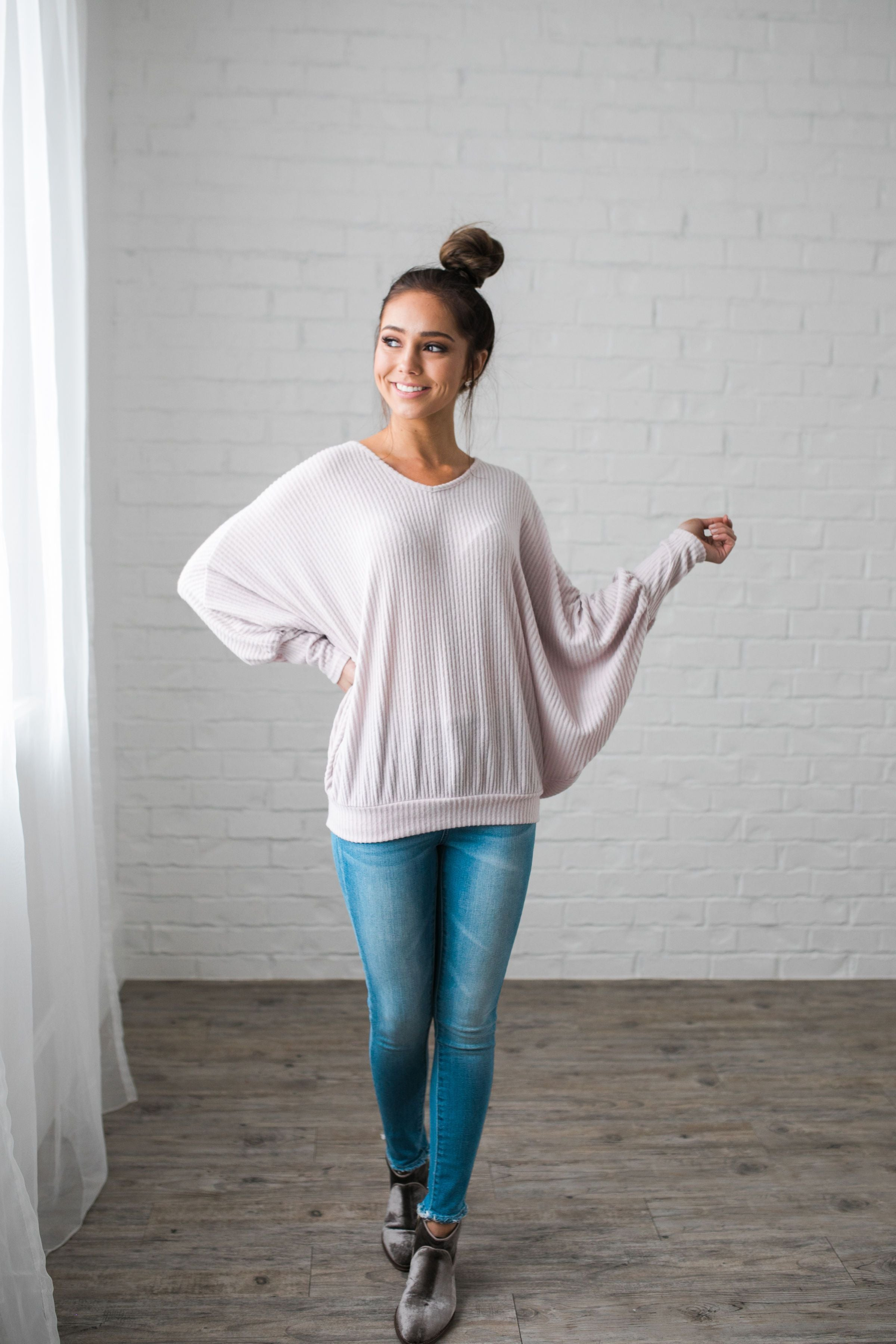 Ridiculously Soft Ribbed Knit Top In Light Lilac