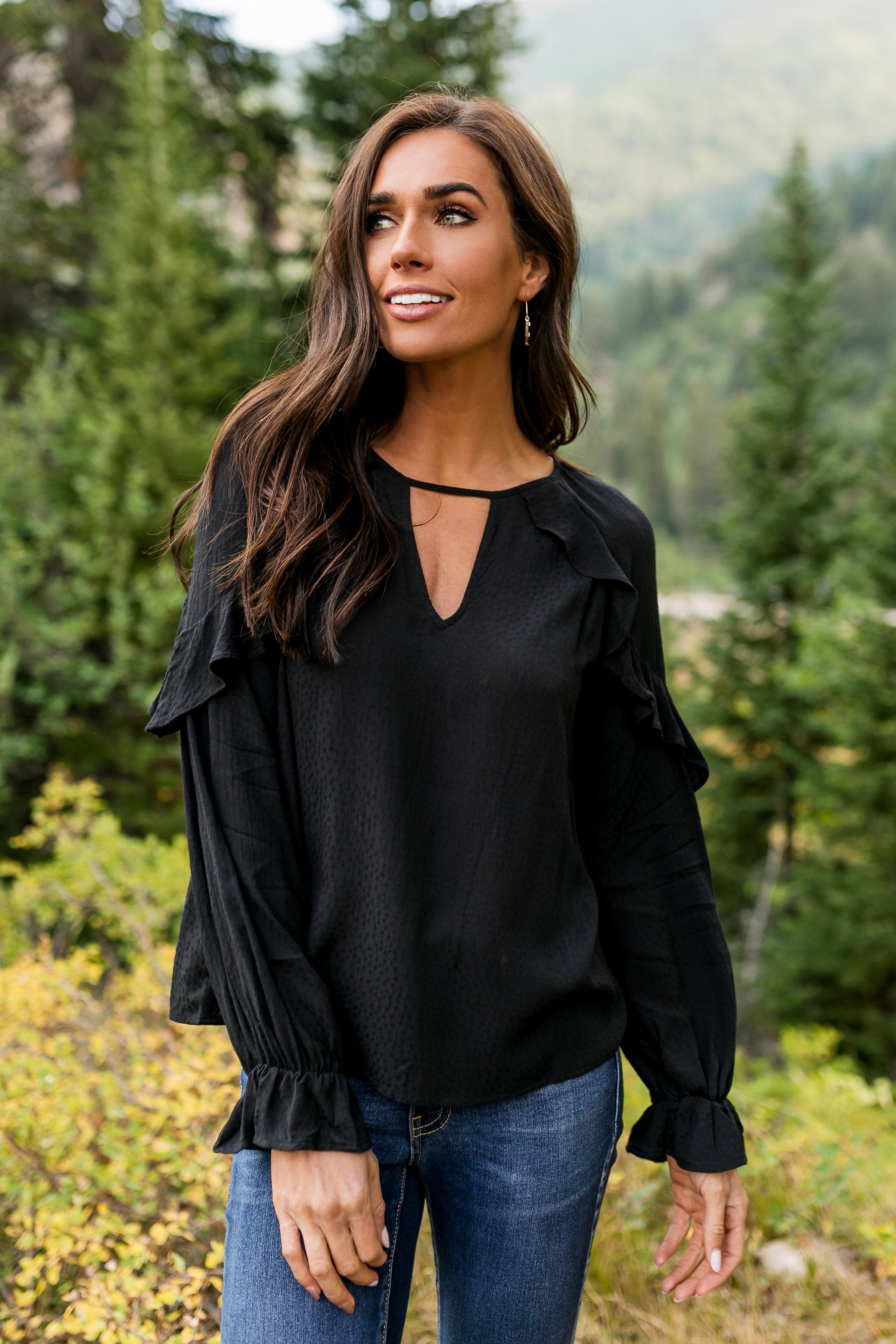 Romance + Ruffles Top In Black - ALL SALES FINAL