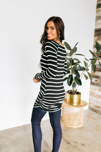 Ruled And Ruched Black & White Striped Top