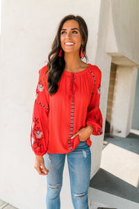 Scarlet Embroidered Top
