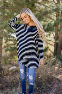 Steady She Goes Striped Top In Navy