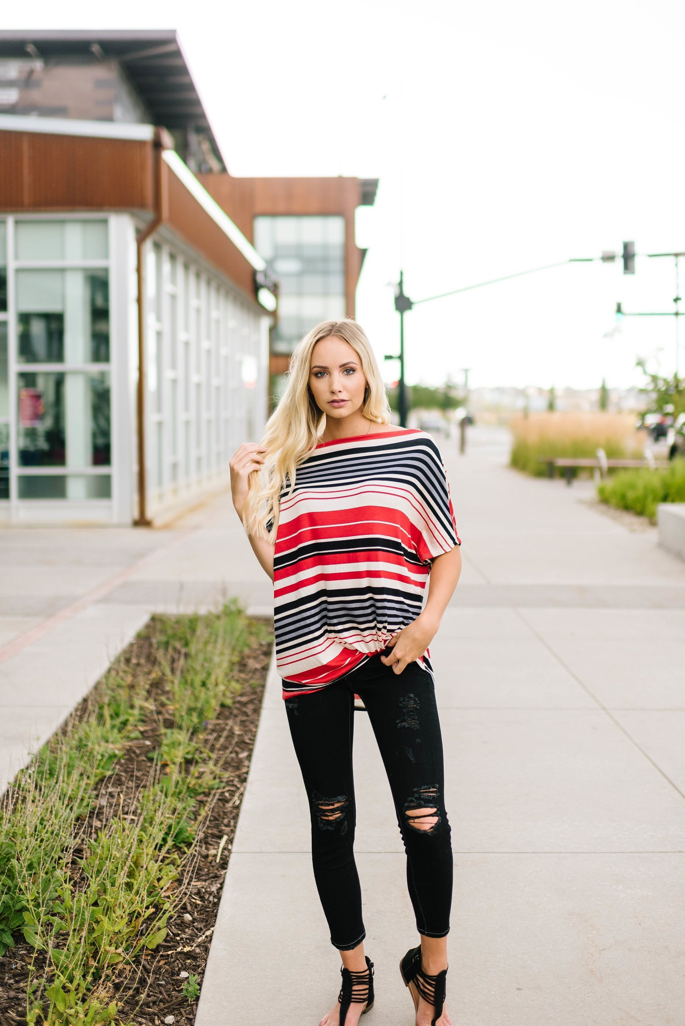 Striped One Shoulder Knot Top