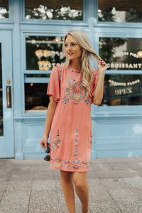 Summer Romance Embroidered Dress In Blush