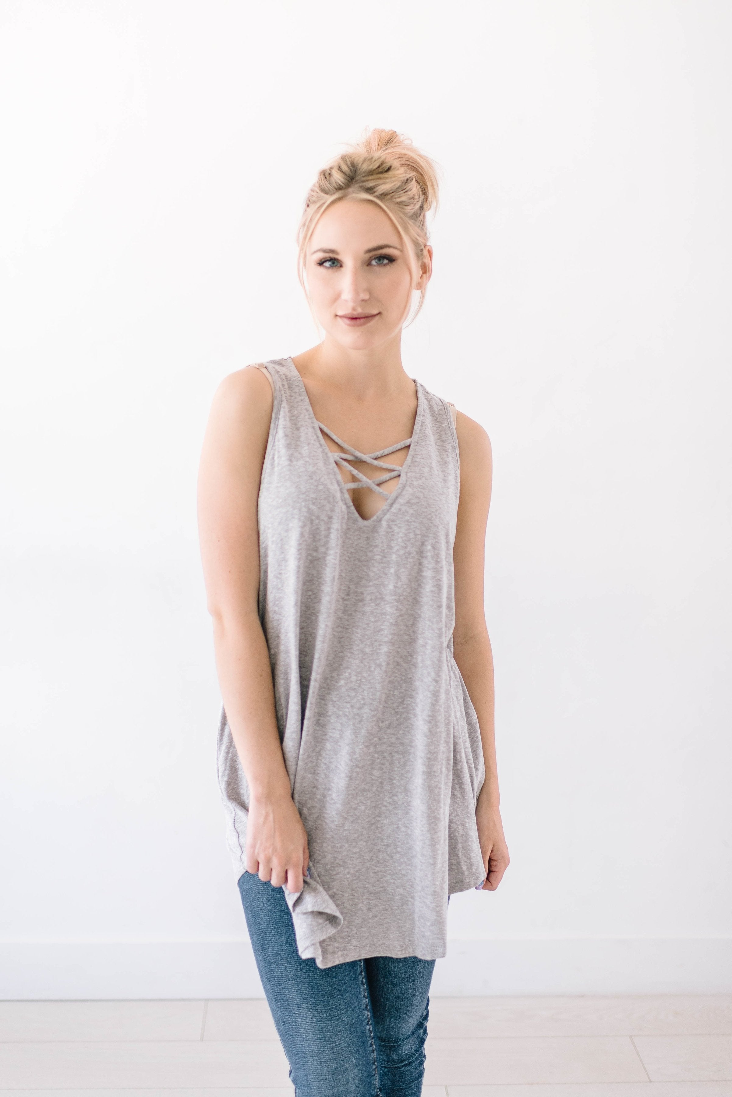 Sun's Out Tank In Gray