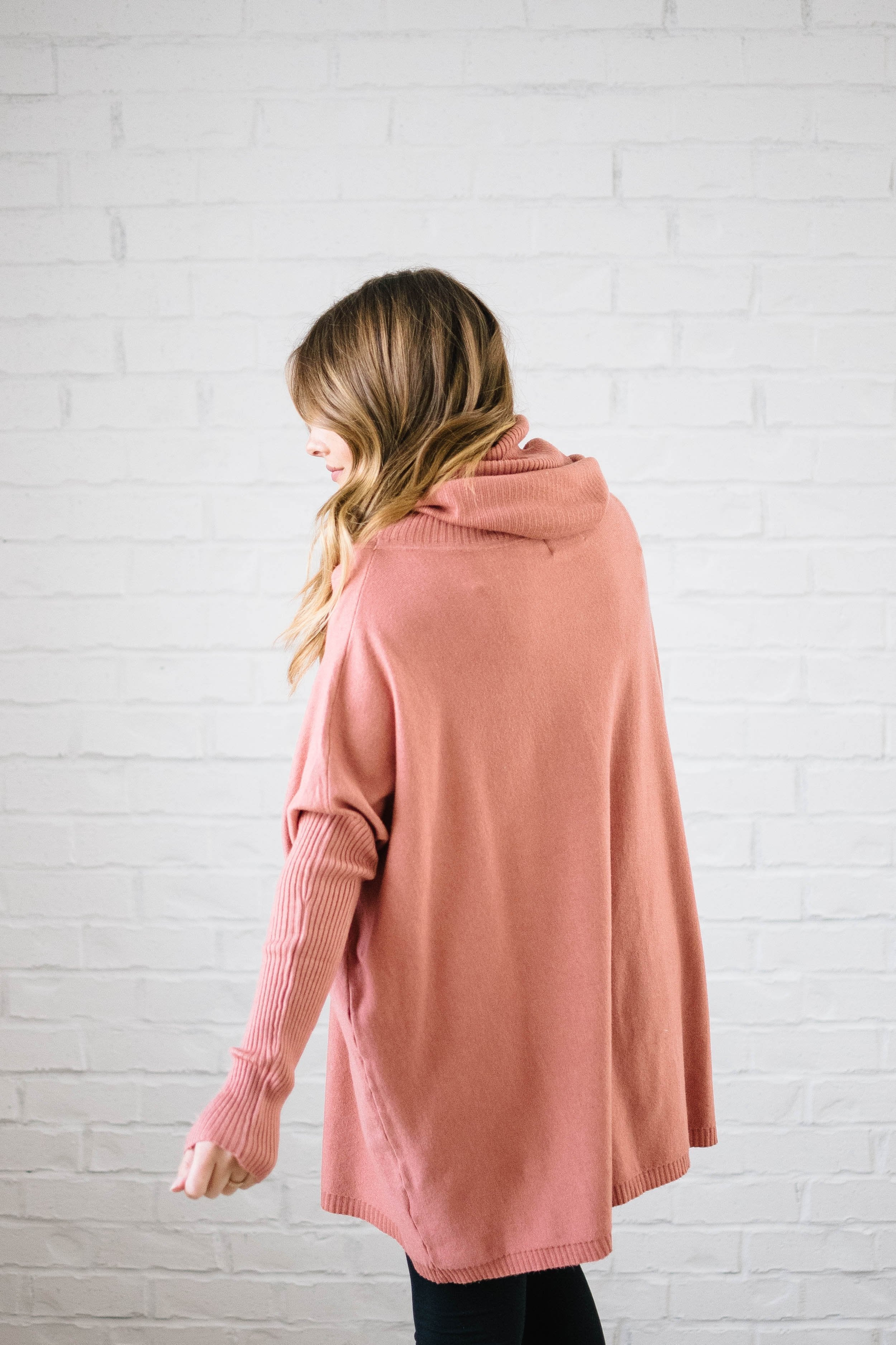 The Cassidy Cowl Neck Sweater in Salmon