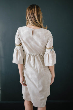 The Emerson Embroidered Dress In Linen