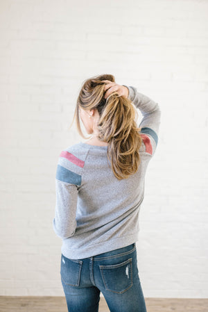 The Harlow Striped Long Sleeve Top in Heather Gray