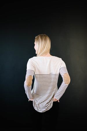Lincoln Long Sleeve Top in Black & Oatmeal