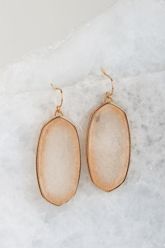 Translucent Stone Earrings In Mystic Mauve