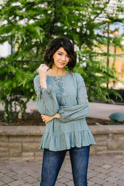 Pleasant Peasant Blouse In Sage