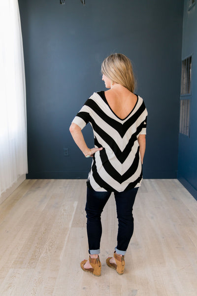 Don't Look Back Striped Top In Black - ALL SALES FINAL
