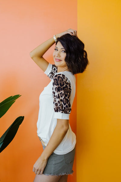 I Love Leopard Top In Ivory